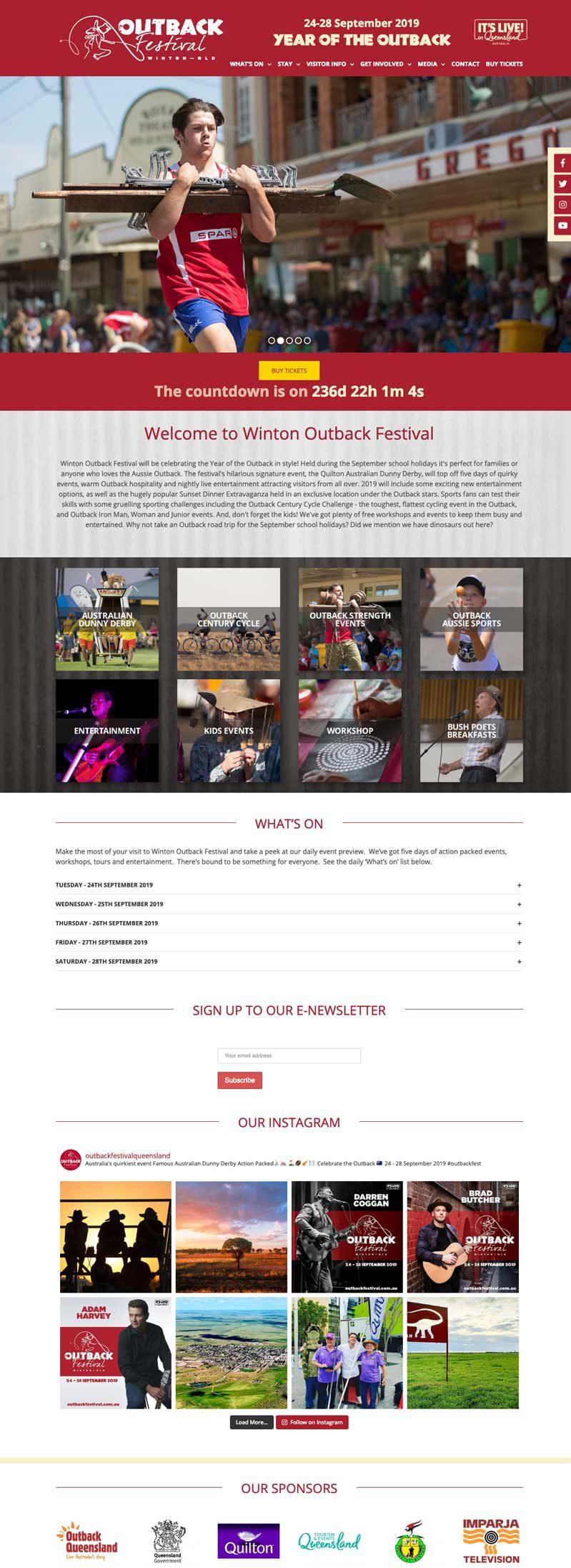 Outback Festival website design