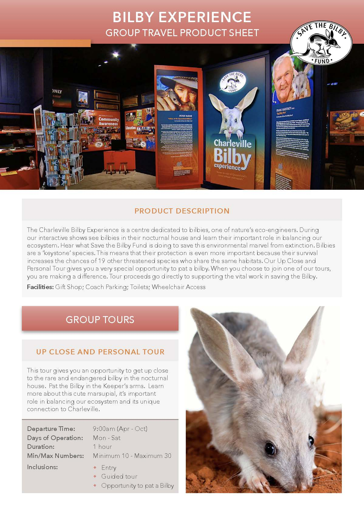 Bilby Experience product sheet