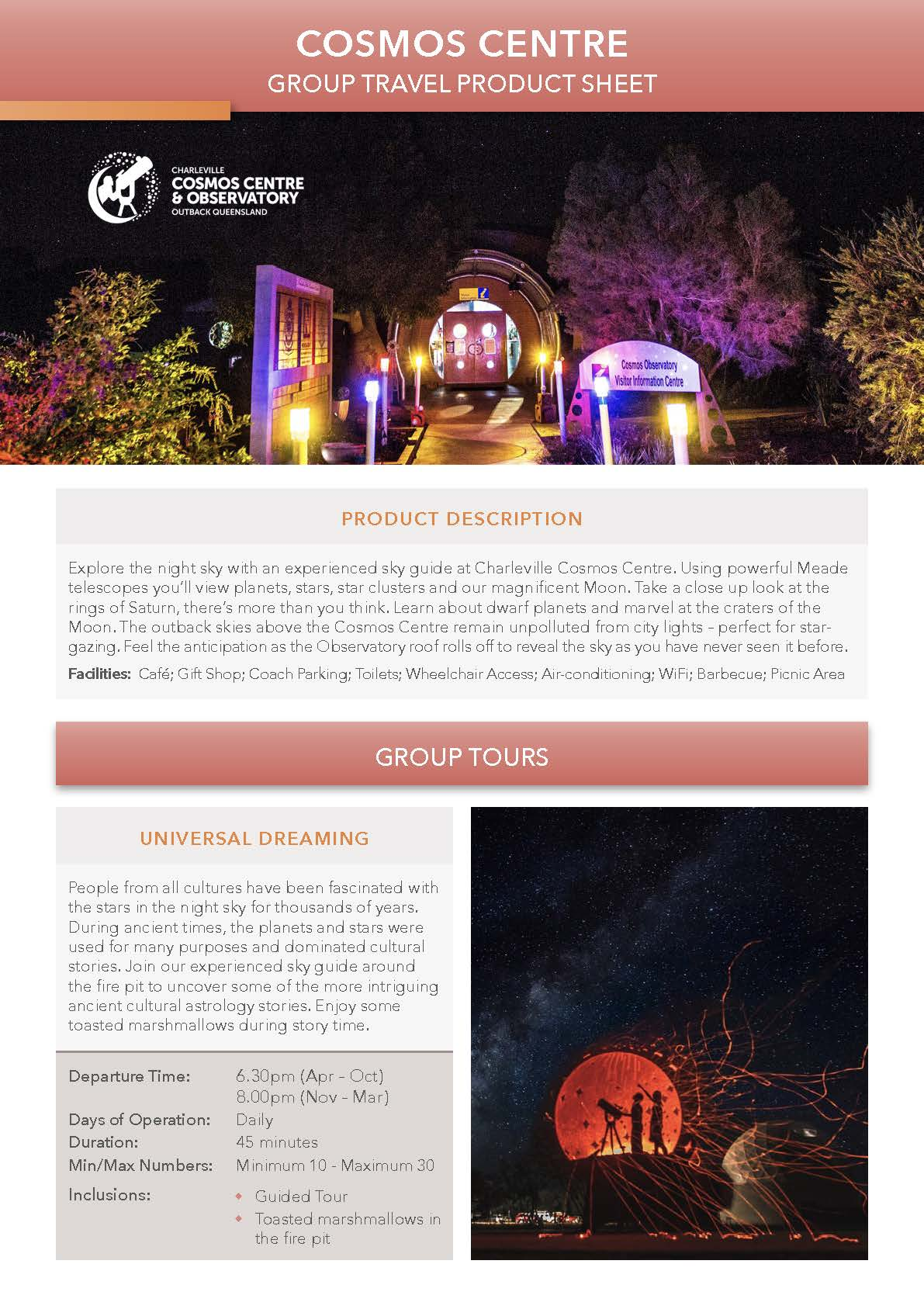 Cosmos Centre Product Sheet